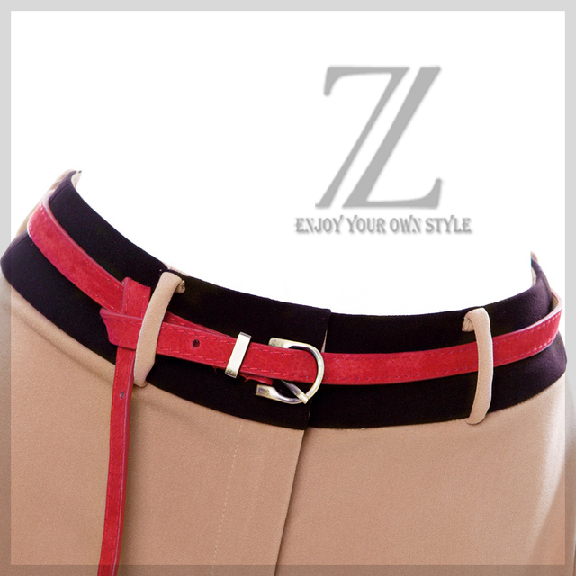 Women's nubuck leather thin belt metal buckle strap belly chain fashion waist decoration deep red