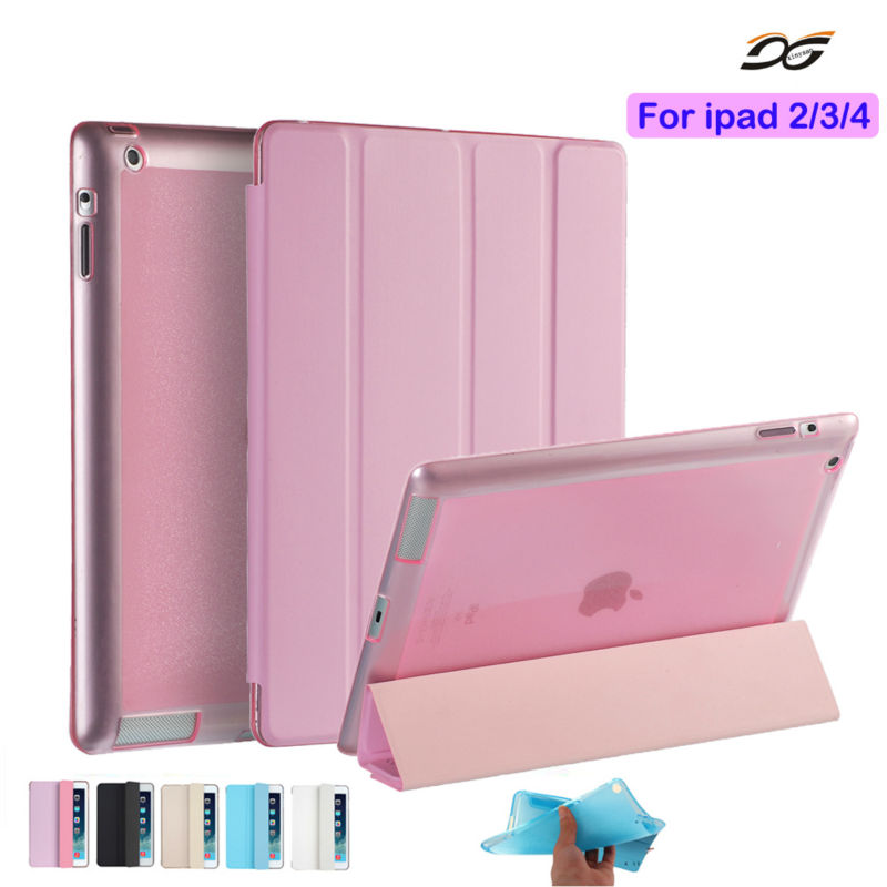 For ipad 4 Ipad 2 Case Leather Case Soft TPU Back Trifold Smart Cover Shockproof Protective Case for iPad 2/3/4+Film+Stylus case for ipad 2 3 4 golp ultra slim pu leather flip case cover soft tpu back magentic smart cover for ipad 2 3 4 a1430 a1460