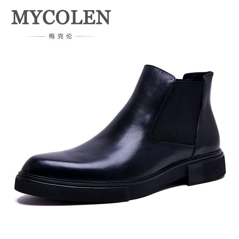 MYCOLEN Leather Men Boots Men Rubber Boots Fashion Winter Shoes Men Waterproof Martin Boots Luxury Product Anfibi Militari Uomo in stock 100w ijoy saber 100 20700 vw kit with 5 5ml diamond subohm tank