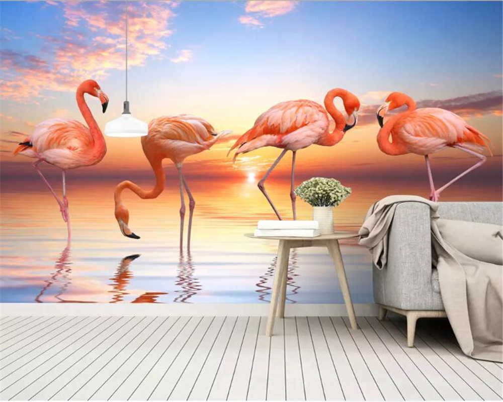 Beibehang Custom Wallpaper Mural Nordic Small Fresh Sunset Lake Flamingo Pastoral Artistic Background Wall 3d Wallpaper Tapety