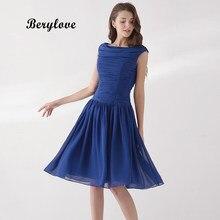 ff6d82eb9e BeryLove Simple longitud de la rodilla azul marino dama de honor vestidos  2018 corto elegante vestido de fiesta vestidos de dama