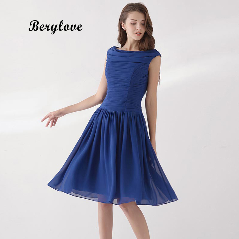 BeryLove Simple Knee Length Navy Blue Bridesmaid Dresses 2018 Short Wedding Party Dress Elegant Junior Bridesmaid Gowns