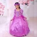 Fashion designer roupa dos miúdos da princesa rapunzel trajes de halloween crianças vestidos de festa para meninas com luvas de veludo