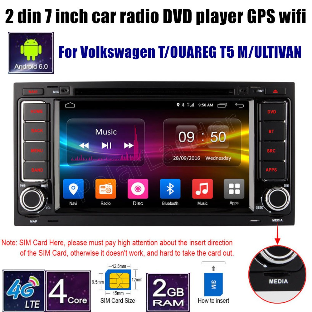 Quad Core Android 6.0 For Volkswagen TOUAREG T5 MULTIVAN Car DVD Player GPS 4G Radio 2 din 7 inch