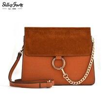 2017 Sally Junge Marke Frauen Messenger Bags Ketten Patchwork Schulter Crossbody-tasche Damen Metall Ring Leder Stella Tasche TB250