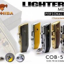 COHIBA карманный инструмент, блестящий желтый металл, форма рта змеи, Бутан, ветрозащитный 3 фонарь, зажигалка для сигарет