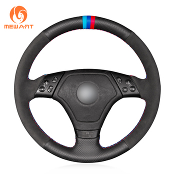 MEWANT Hand Sew Black Genuine Leather Black Suede Wrap New Style Car Steering Wheel Cover for BMW E36 1996-2000 E46 1998-2000