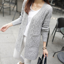 2016 New Autumn Women Knitted Cardigans Polka Dot V-Neck Full Sleeve Long Cardigan Ladies Casual Loose Sweater Women Clothes