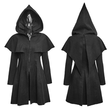 Steampunk Elf Worsted Jacket for Women Gothic Black Casual Cape Hooded Coats