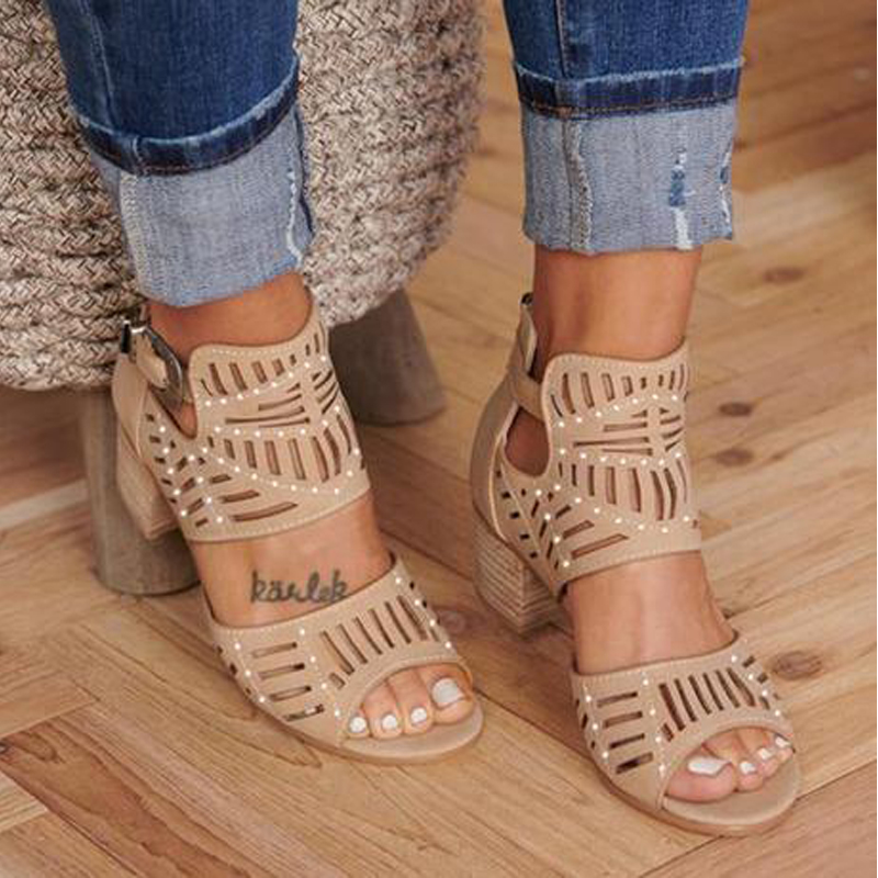 WENYUJH Wedges Sandals Shoes Square Heel High-Heels Hollow-Out Female Peep-Toe Summer
