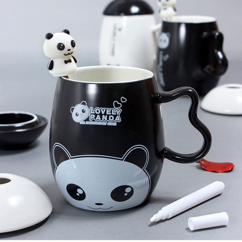 Panda Ceramic Mug Nice Animal Ceramic Cup With Panda Spoon And Pen Leave A Message Most Popular Birthday Gift Coffee Milk Mugs