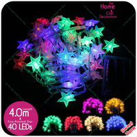 4M 40pcs LED String Party Fairy Lights Five Pointed Star LED Lights For Home Wedding Xmas