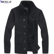 HENG JI 2017 new men's needle single-breasted knit cardigan, casual pure color long sleeves, slim sweater jacket, high quality