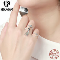 BISAER 2017 NEW Arrival Autumn Collections 925 Sterling Silver STARS Meteor Double Rings For Women Fashion