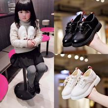Girls Black Leather Shoes Child PU Suit Shoes 2019 Spring Autumn Kids Boys School Shoes White Children Sneakers цена