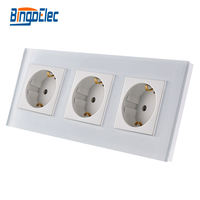 EU Standard 3 Gang Power Socket Germany Wall Socket White Crystal Toughened Glass Panel 16A Socket