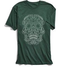 Skulls T-shirt Men High Street Tshirt Minamalist Day Of The Dead Skull Streetwear Green 100% Cotton Cool Clothes Chic T Shirts цена 2017