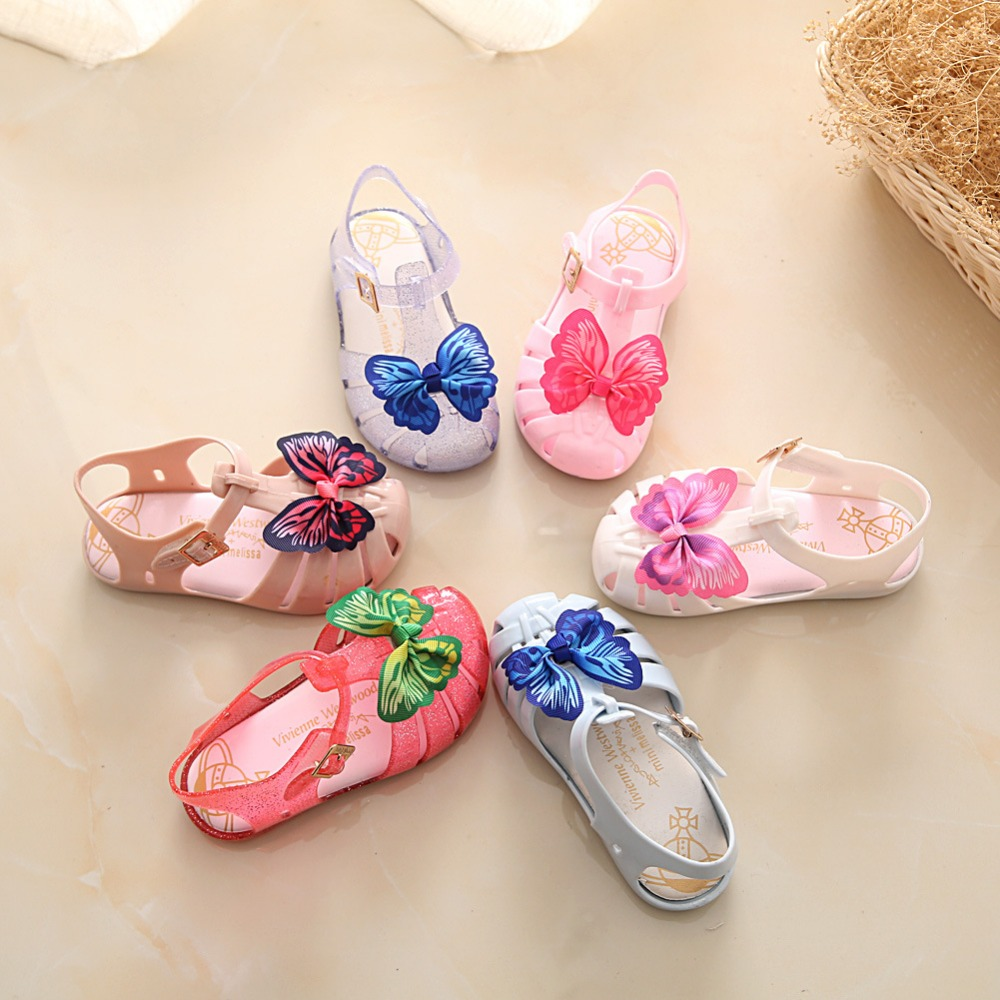 где купить Children Mini Melissa Colorful Butterfly Sandals 13-19cm Girl Summer Beach Sandals 6 Colors Size 24-29 6Pairs/Lot по лучшей цене