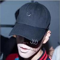 2016 Gd Safety Pin Hip Hop Men Cap Summer Ring Baseball Cap Sport Outside Curved Hats