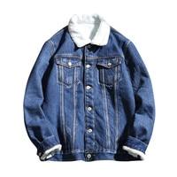 Winter 2019 Denim jacket velvet original loose fitting oversized coeboy jacket for men Thicken warm jacket Big Szie 5XL