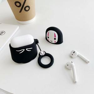 Image 3 - 3D Cute Kawaii Anime Cartoon Totoro Faceless Man Case for Airpods 1 2 No Face Man Wireless Earphone Cover with Finger Ring Strap