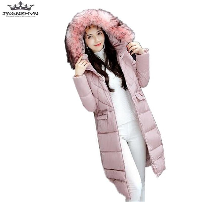 tnlnzhyn 2017 New Winter Coat Women Slim  Fur Collar Hooded Women Down Cotton Jacket Thick Female Womens Parka Outerwear Y583