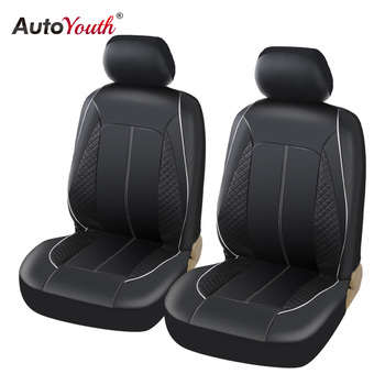 AUTOYOUTH Luxury PU Leather Car Seat Covers Airbag Compatible For toyota lada kalina granta priora renault logan Set of 2 Black car seat