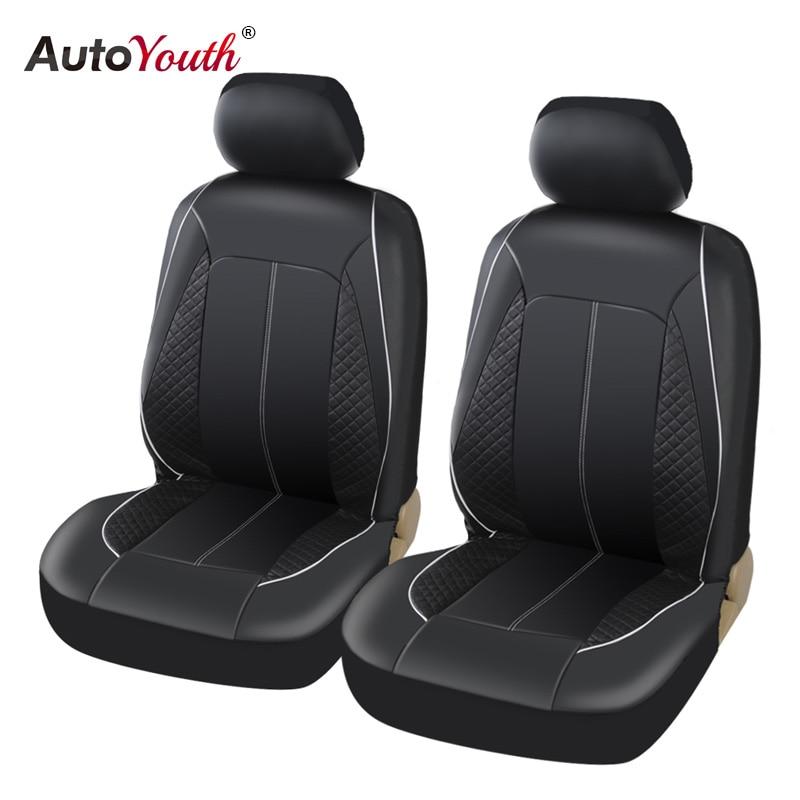 AUTOYOUTH Luxus PU Leder Auto Sitzbezüge Airbag Kompatibel Für toyota lada kalina granta priora renault logan Set von 2 schwarz
