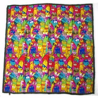 Silk Square Style Cat Print Scarf Girls Big Neckerchief Pocket Scarves & Shawls Colorful Cats Designed