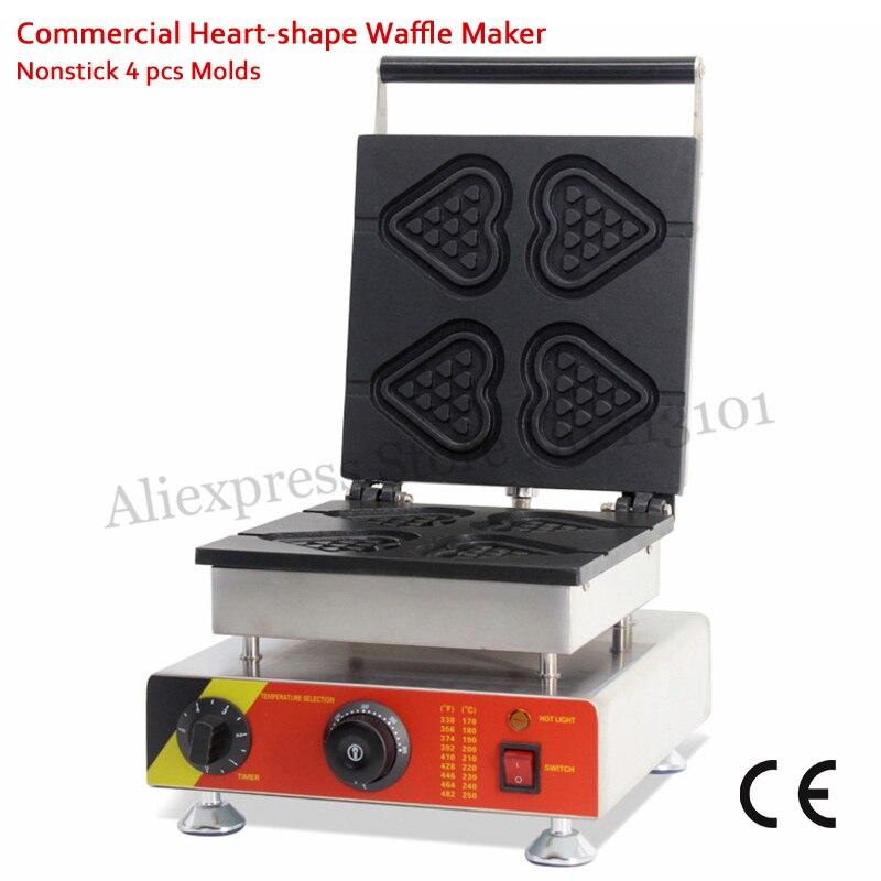 Commercial Heart-shape Lolly Waffle Baker Machine Nonstick Heart Cake Maker 4 Molds 110V/220V 1500W CE Approval for Restaurants commercial heart shape egg waffle maker 110v