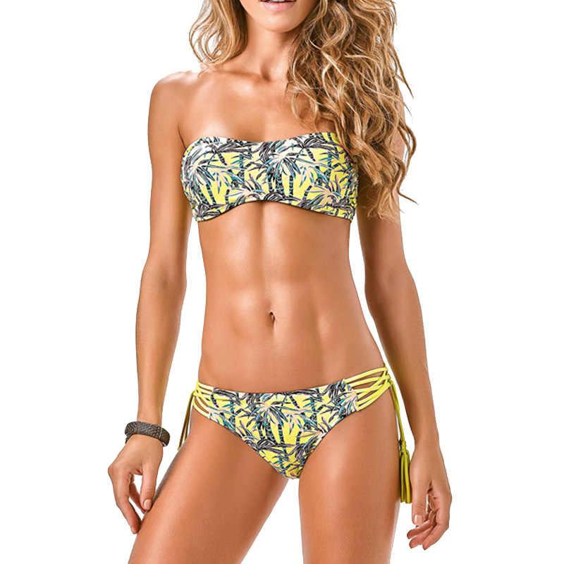 02a9dc225e9 Detail Feedback Questions about Print Bikini 2019 Bandeau Tassel Swimsuit  Female Separate Off Shoulder Bathing Suit Push Up Swimwear Women Beach Wear  Bikini ...