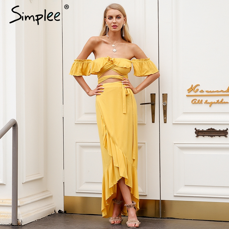 Simplee Off Shoulder Sexy Bandage Dress Women Ruffle Wrap Two Piece