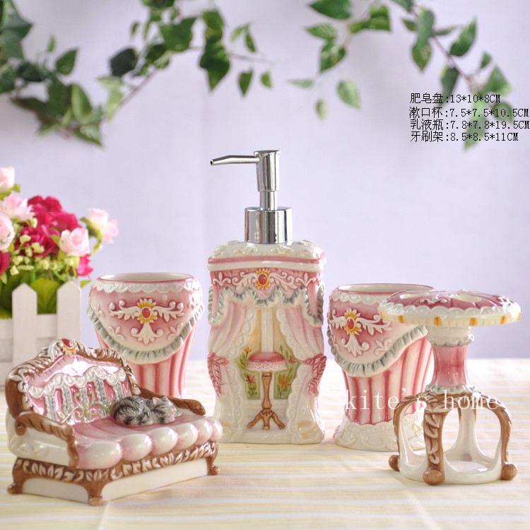 Pink cat ceramic toothbrush holder soap dish bathroom for Pink bathroom accessories sets