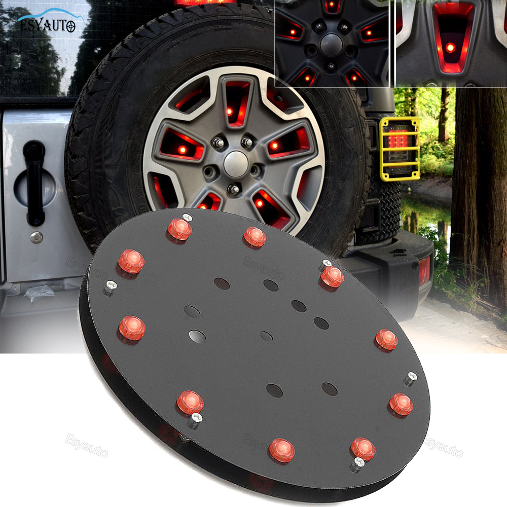 Black Pannel metal Fit Round Spare Tire Lamp Wheel LED Red Light Rear Brake Decoration For Jeep Wrangler YJ/TJ 2007-2017 car styling top mount hardtop rear grab handle bar front rear interior parts metal for jeep wrangler 2007 later