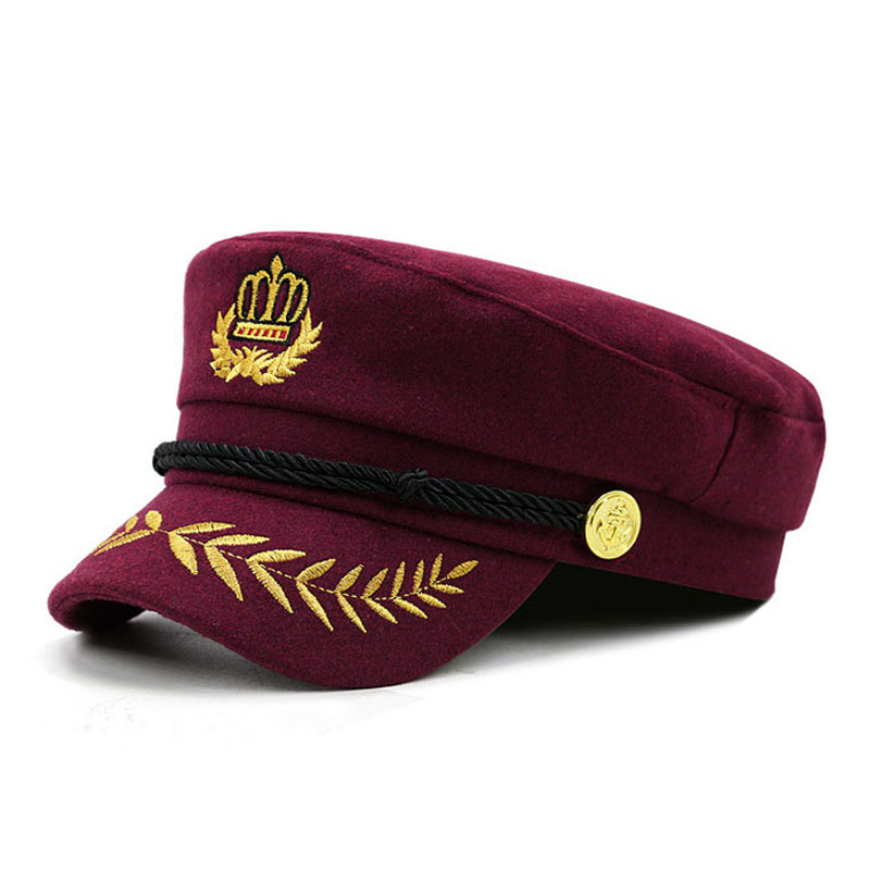 5044b56c Aliexpress.com : Buy [AETRENDS] 2018 New Warm Woolen Military Cap Men Women  Casual Army Caps Flat Top Navy Captain Hat gorra militar Z 6271 from  Reliable ...