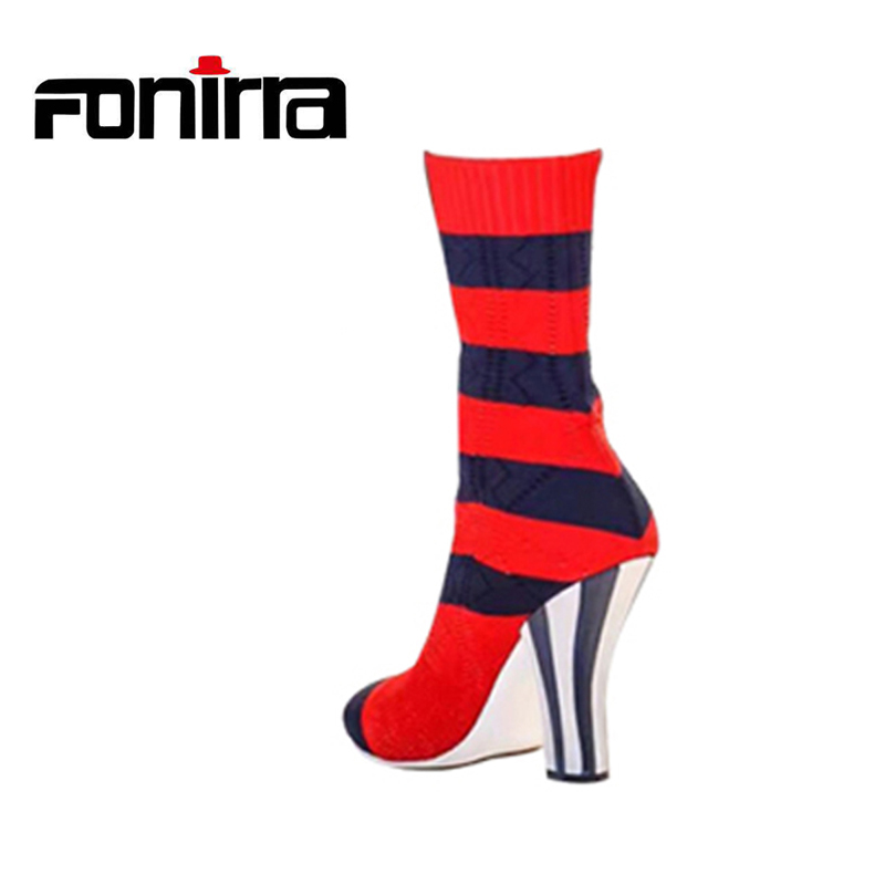 FONIRRA Women Stretch Knit Ankle Boots Fabric Shoes Striped-Heel Socks Boots Round Toe Women Slip-On High Heels Female Boots 682 xiuningyan women s boots round toe elastic ankle boots thick heel high heel shoe woman female fashion stretch socks boots winter