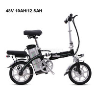 Mini Bike Folding Electric Bike 14inch Wheel 240W Motor E Bike Electric Bicycle Scooter Two Seat 48V 10AH/12.5AH Lithium Battery