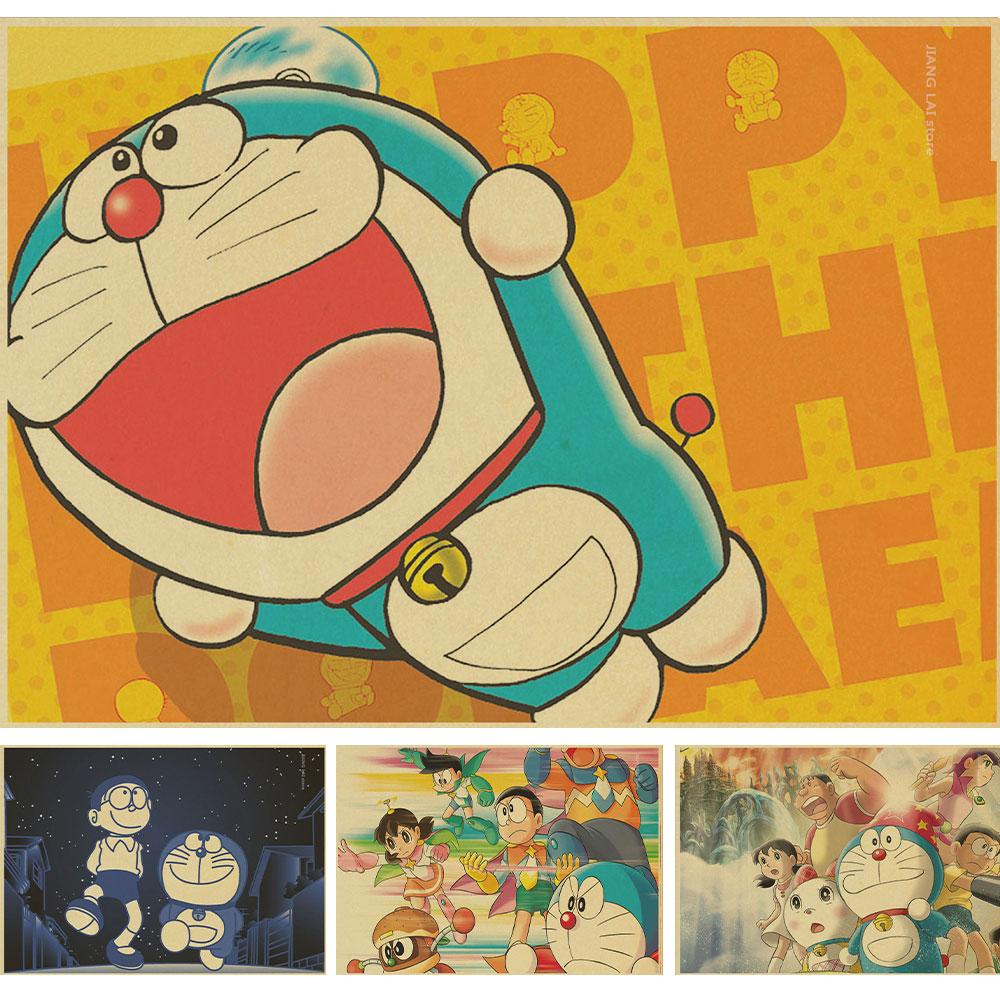 Japan Home Decor Rhinoceros Beetle Fat Doraemon Poster Retro Vellum Childhood Memories Classic Vintage Posters