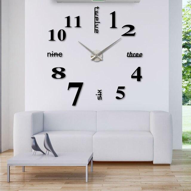 Casa decorazioni grande specchio orologi da parete 3d orologio ...