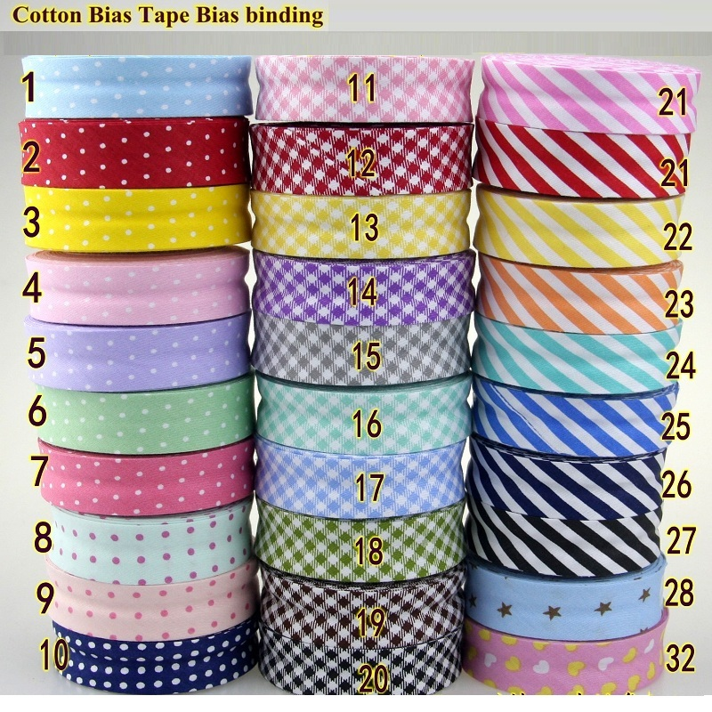 Bias Tapes (1) 25mm wide Single Fold Cotton Binding STARS Series DIY Craft Apparel Sewing Fabric 5meters/lot