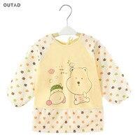 Cartoon Baby Bibs Long Sleeve Apron Waterproof Toddler Feeding Bibs Burp Cloths Soft Cotton Eating Painting