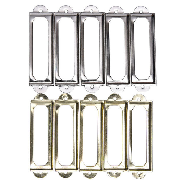 Wholesale 10Pcs Antique Brass Metal Label Pull Frame Handle File Name Card Holder For Furniture Cabinet Drawer Box Case Bin
