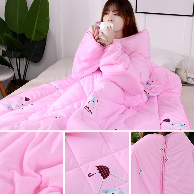Hot Multifunction Lazy Quilt With Sleeves Winter Warm Thickened Washed Quilt Blanket MDD88