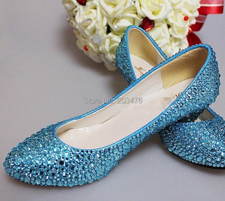Nice Handmade Woman Blue Rhinestone Wedding Dress Shoes