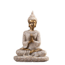 Resin Unique Buddha Figure Thailand Feng Shui Sculpture Buddhism Statue Budda Happiness Ornaments for Home Decor Gifts(China)