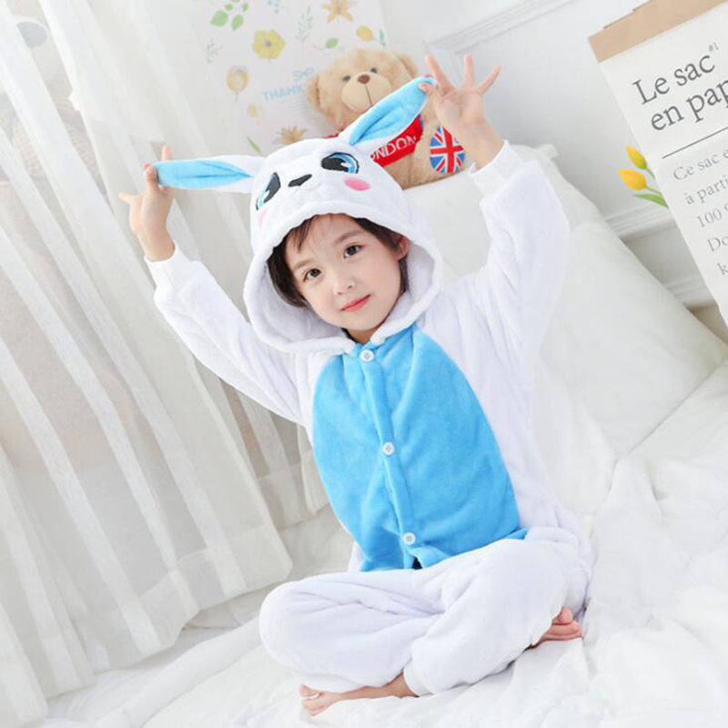 Kid Blue Rabbit Cosplay Kigurumi Onesies Child Cartoon Winter Anime Jumpsuit Costume For Girl Boy Animal Sleepwear Pajamas