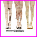 Free Shipping 2016 New Arrival Fashion Harajuku Tights 60 Denier Velvet Tattoo Print Pantyhose Stockings For Girl