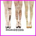 Free Shipping 2016 New Arrival Fashion Harajuku Tights 60 Denier Velvet Tattoo Print Pantyhose Stockings For Girl
