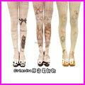 O Envio gratuito de 2016 Novos Chegada de Moda Harajuku Collants 60 Denier Velvet Tatuagem de Impressão Meia-calça Meias Para Menina