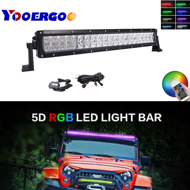 120W RGB Light Bar 5D LED Work Light Spot Flood Beam for Off Road for Jeep SUV Truck image